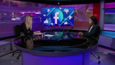 Sara Khan being interviewed on BBC Newsnight