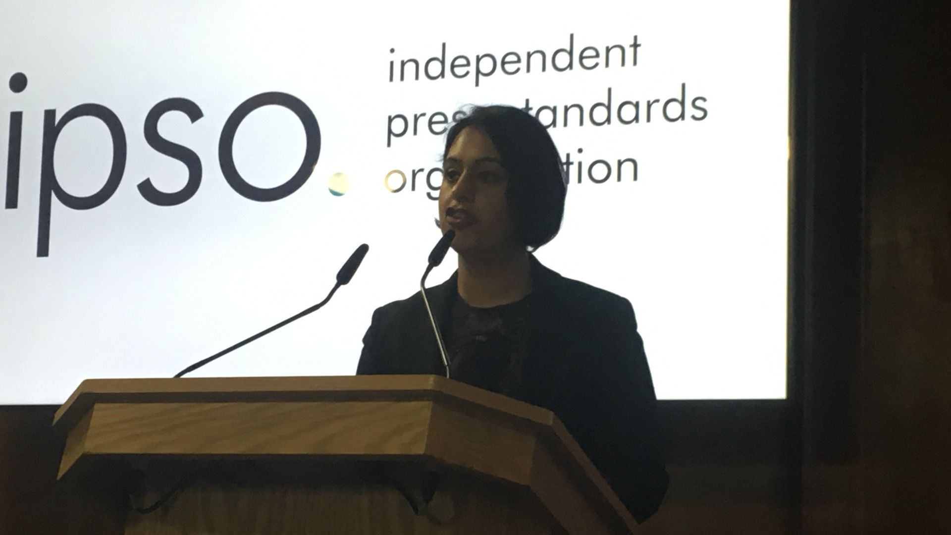 Sara giving a speech at IPSO