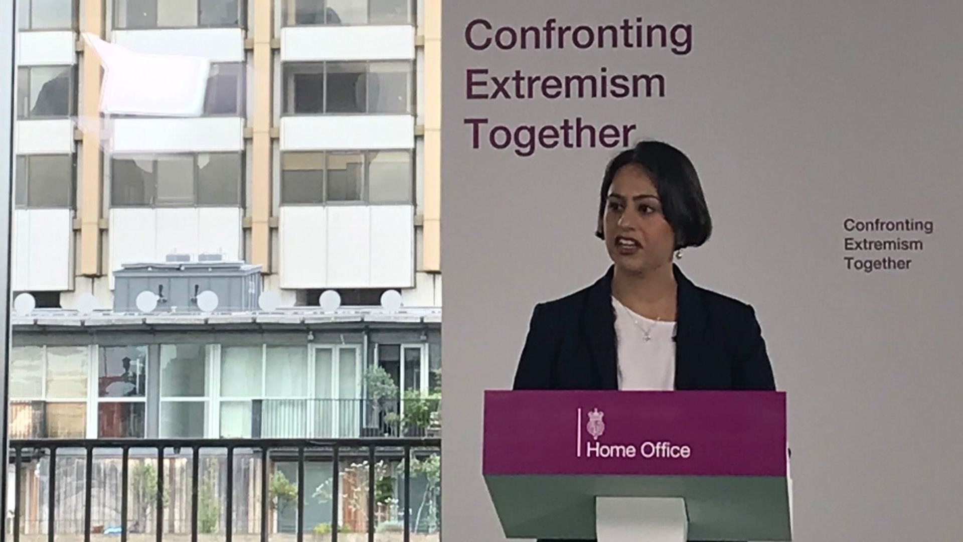 Sara giving a speech for the Home Office Confronting Extremism Together campaign