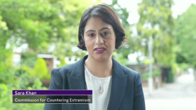 Screenshot of Sara Khan being interviewed on Channel 4 with a banner that reads 'Sara Khan: Commission for Countering
